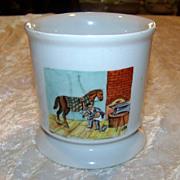 """SALE Bavaria 1900's Hand Painted Occupational Shaving Mug """"Blacksmith"""" 3-3/4"""""""
