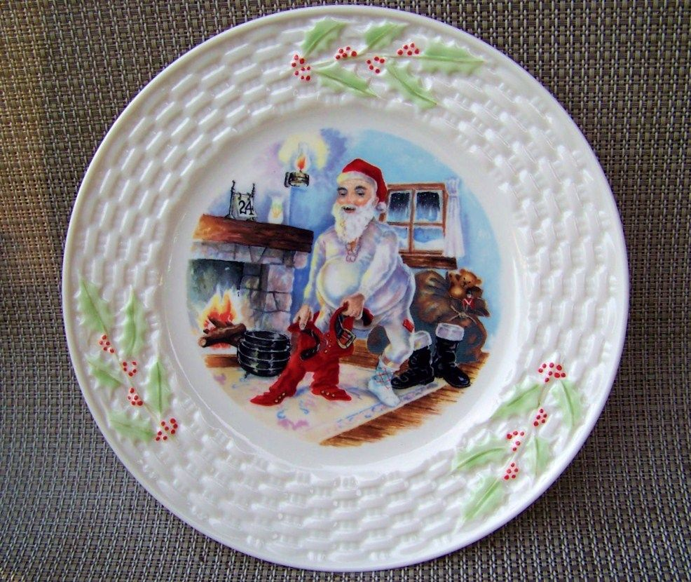 "Attractive Belleek 1980--1992 ""Santa Claus Dressing On Christmas Eve"" 8-3/8"" Christmas Plate with the Brown Mark # 7"