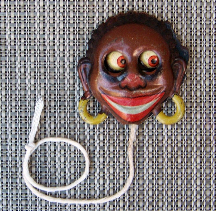 Vintage Black Americana 1910's German GOGGLE-EYE Pull Tin Litho Germany Toy