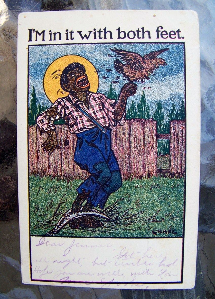"""Black Americana, 1906 Post Card by the Artist, M.Crane, Entitled """"I'M in it with both feet."""""""