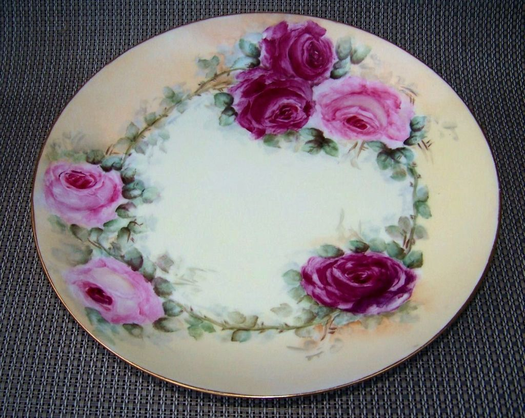 """Attractive Limoges France 1900's Hand Painted """"Deep Red & Pink Roses"""" 9-1/4"""" Plate by  the Artist, """"B. Hartnett"""""""