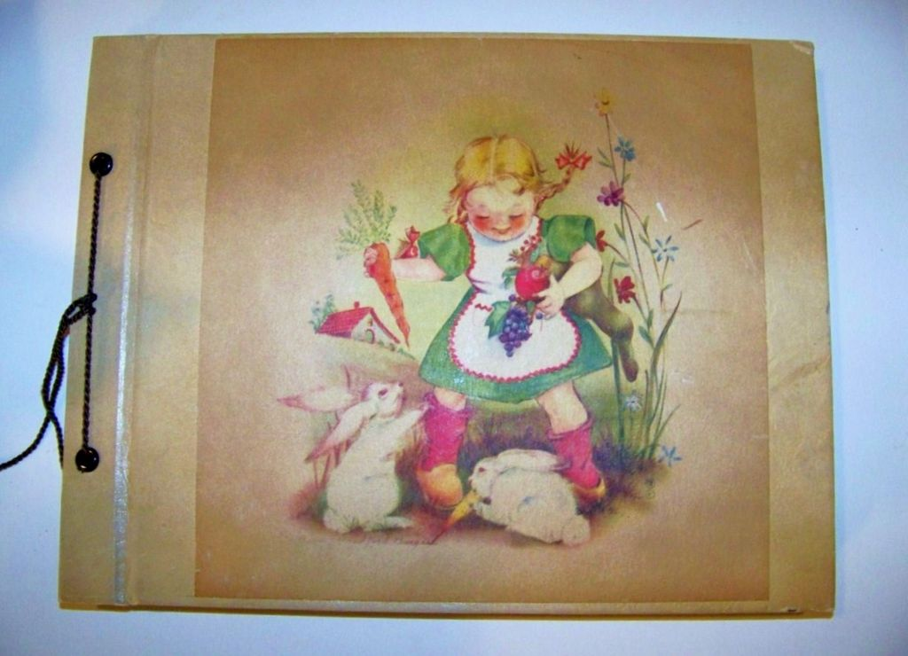 """Vintage 1930--40's Little Girl's Post Card Collection Book of """"Easter""""  33 Post Cards"""