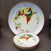 "Outstanding Selb Bavaria 1900's Hand Painted ""Red Currant"" 12-3/4"" Charger & Cake Set by the Listed Chicago Artist, ""Steve"""