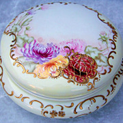 "Gorgeous Vintage T & V France Limoges Hand Painted Vibrant ""Red, Lavender, Pink, & Yellow Mums"" 6"" Dresser Box"