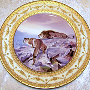 "Fabulous & Scarce Vintage Royal Vienna Hand Painted Scenic ""Lion & Lioness"" 10-1/4"" Plate by the Artist, ""C. Pohl"""
