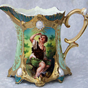 "Gorgeous RS Prussia 1900's Ribbon & Jewel ""Melon Eater"" 3-7/8"" Creamer"