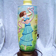 """Vintage Limoges 1920's Hand Painted Art Deco Style """"Dancing Lady With A Scarf"""" Large Lamp by the Pickard Artist, """"C.F. Koenig"""""""