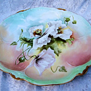 "Gorgeous GDA France  Limoges 1900's Hand Painted ""White Poppies"" 8-1/2"" Scallop Plate"