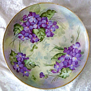"Beautiful & Vibrant Haviland France 1900's Hand Painted ""Violets"" 7-3/4"" Plate"