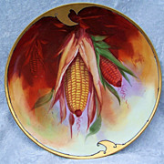 """Exceptional Bavaria & Julius Brauer Studio Early 1900's Hand Painted """"Corn Plant"""" 8-"""