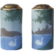 "Attractive Bavaria 1900's Hand Painted ""Swan On the Lake"" Pair of Scenic Deco Shakers"