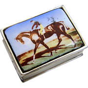"Gorgeous English Sterling Silver 925 Enameled ""Racing Horse & Jockey"" Scenic Pil"