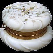 "Gorgeous C.F. Monroe Wavecrest 1890's ""Enameled Daisy"" 4-1/2"" Dresser Jewelry Box"
