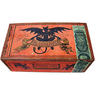 "SOLD Rare Museum Quality Reliance Cigar Factory, NYC 1877-80 ""Diabolique"" Devil Wooden Cigar Box"