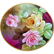 """Gorgeous Vintage Ginori Italy 1900's Hand Painted """"Pink & Yellow Roses"""" 9-1/2"""""""