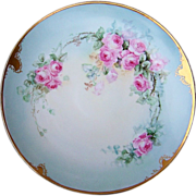 "Gorgeous T & V Limoges France 1900's Hand Painted ""Pink Roses"" 12-1/2 ..."