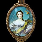 "Gorgeous Vintage 1900's Hand Mirror of ""Louise Henriette of Bourbon, Duchess of Orléans"""
