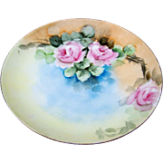 """SALE Attractive J & C Bavaria 1900""""s Hand Painted """"Pink Roses"""" 9-3/4"""" Flor"""