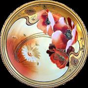 "SALE Gorgeous Pickard Studio of Chicago  1912 Hand Painted ""Burnt Orange Poppy"" Flor"