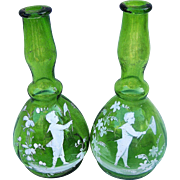 "Outstanding Vintage 1900's Mary Gregory ""Boy Chasing Butterflies"" 8-1/2"" Matched Set of Emerald Green Barber Bottles"