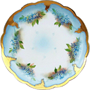 "SALE Gorgeous Limoges France 1907 Hand Painted ""Forget Me Not"" 9-1/4"" Floral Pl"