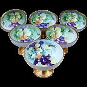 "SALE Gorgeous O.& E.G. Royal Austria Set of Hand Painted ""Purple Grapes"" Sherbets by"