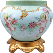 "SALE Fabulous D & Co France Limoges 1895 Hand Painted ""4 Cherubs & Roses"" Scenic Jar"