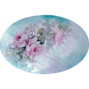 "SALE Exquisite Bavaria 1900's Hand Painted ""Pink Roses"" 9-1/4"" Floral Plaque by"