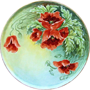 "SALE Gorgeous Epiag Czechoslovakia 1900's Hand Painted Vibrant ""Burnt Orange Poppy"""