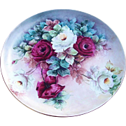 """SALE Spectacular 13-1/4"""" Hutschenreuther Selb Bavaria 1900's Hand Painted Vibrant """"R"""