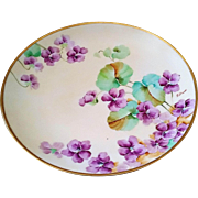 "SALE Attractive Ginori Italy 1900's Hand Painted ""Violets"" 9-1/4"" Floral Plate"