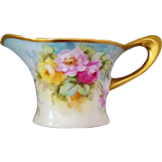 """SALE Gorgeous OHIO 1900's Hand Painted """"Red, Pink, & Yellow Roses"""" Floral Pitcher by"""