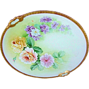 "SALE Gorgeous Vintage Ginori Italy 1900's Hand Painted ""Yellow & Pink Roses & Violets"""
