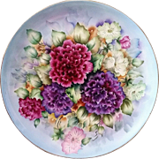 "SALE Gorgeous Bavaria 1900's Hand Painted Vibrant ""Deep Red & Purple Zinnia"" 10-1/4"""