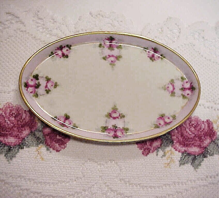 "Nice Bavaria Vintage 1900's Hand Painted ""Petite Red & Pink Roses"" 9"" Dresser Tray, by Pickard Artist ""Koenig"""