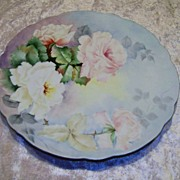 "SALE Gorgeous Vintage Hand Painted Bavaria 1910 ""Pink & White Roses"" 12-3/8"" Ch"