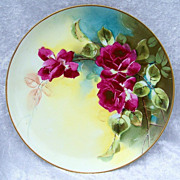 """SALE PENDING Gorgeous L.W. Donath Studio of Chicago Vintage 1900's Hand Painted """"Deep Red"""