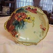 "Attractive J.P.L. France Limoges 1900's Hand Painted Fancy ""Poppy"" 10-1/8"" Bowl"