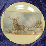 "Unusual Scenic Limoges Scenic 1890 Hand Painted ""Stag & Wolves"" 9"" Plate"