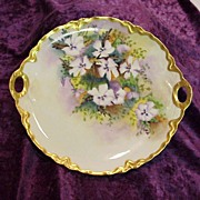 "Gorgeous Haviland France 1900's Hand Painted ""Lavender & White Pansy"" 10-3/4"" P"