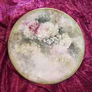 """Outstanding Hand Painted Water Color Effect """"Mums"""" 10-3/8"""" Plate by the Artist,"""