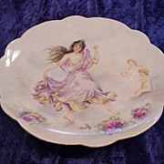 "SALE Exceptionally Decorated Vintage 1901 Hand Painted Limoges France Nude 12-1/2"" Charge"