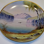 """Vintage Hand Painted Scenic Lake & Mountain Scene 8-1/8"""" Plate by """"Tokorl"""""""