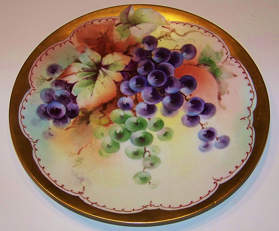 """Vintage 1900's Bavaria Hand Painted """"Grapes"""" 8-3/8"""" Plate by Pickard Artist, """"Edward"""""""