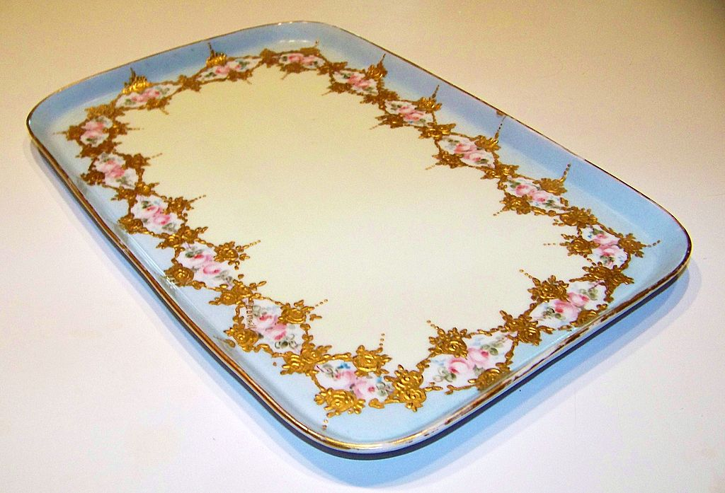 """Vintage 1900 Limoges Hand Painted """"Petite Pink Roses"""" 11-7/8"""" Tray by Artist, """"B.D. O'Neill"""""""