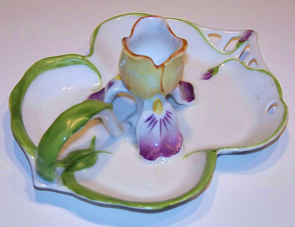 """Royal Bayreuth 1900 """"Pansy"""" Art Nouveau Chamberstick Candle Holder"""