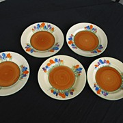 Clarice Cliff Crocus Dessert Plates