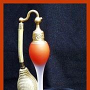 SOLD Deco Devilbiss Orange Satin Perfume Atomizer