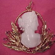 Roman Lady Cameo Pendant - 14KG - Genuine Rubies