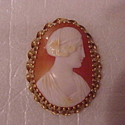 """""""Pear-Shaped Cameo Brooch - 14KG - early 1900's - Roman Lady"""